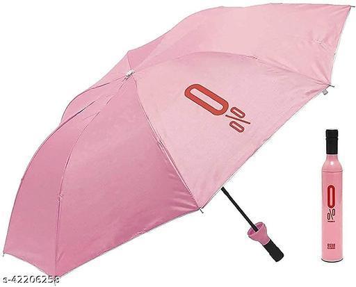 Pink Bottle shaped 2 Fold Auto Open Men/Women UV Protection Monsoon/Rainy & Sun Umbrella