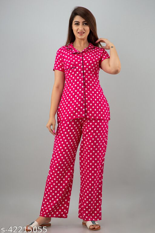 Rajaipuri Women Printed Nighty shirt and pyjama set