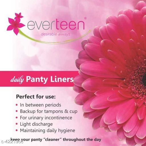 Feminine Hygiene Everteen 100% Natural Cotton Daily Panty Liners for Women - 1 Pack (30pcs)   *Product Name* Everteen 100% Natural Cotton Daily Panty Liners for Women - 1 Pack (30pcs)  *Product Type* Panty Liners  *Fabric* Cotton & Viscose Fibre  *Description* Everteen 100% Natural Cotton Daily Panty Liners (30 pieces each), which are a quality product from everteen, offering India's largest range of premium sanitary essentials for complete feminine hygiene. Have you ever felt as if your shower-fresh feeling wears off by the time you take your morning coffee break? everteen 100% Natural Cotton Daily Panty Liners help you stay fresh, clean and confident the entire day, each day. everteen 100% Natural Cotton Daily Panty Liners are ideal for use during non-period days to absorb accidental leaks and light discharges. As the name suggests, everteen 100% Natural Cotton Daily Panty Liners have a 100% natural cotton surface that does not cause irritation and provides you instant dry and soft feel. everteen 100% Natural Cotton Daily Panty Liners are thin & comfortable, designed to make you feel like wearing a fresh panty. The negative ion strip used in these pantyliners helps prevent bacterial multiplication and eliminates odour. The breathable layers of everteen 100% Natural Cotton Daily Panty Liners keep you dry all the time and keep the moisture away.  *KEY BENEFITS*  • Everyday protection from light discharge, urine leakage & unexpected periods. 	 • 100% natural cotton surface for instant dry and soft feel. 	 • Anti-bacterial negative ion strip helps prevent bacterial multiplication & eliminates bad odour. 	 • Ultra-thin and extra absorbent liners for everyday freshness. 	 • Breathable layers help keep moisture away.  *Package Contains* It Has 1 Pack Of Panty Liners  *Sizes Available* Free Size *   Catalog Rating: ★3.5 (4)  Catalog Name: Feminine Hygiene Everteen Products Vol 1  CatalogID_603504 C126-SC1279 Code: 222-4221968-