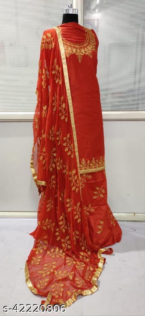Satin Cotton with Embroidery Zari Work Orange Dress Material
