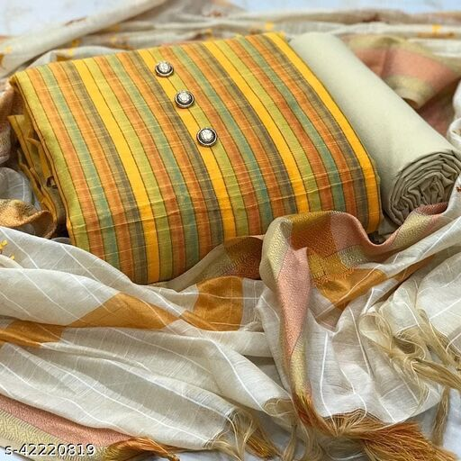 Pure Cotton with Digital Lining Print Dress Material