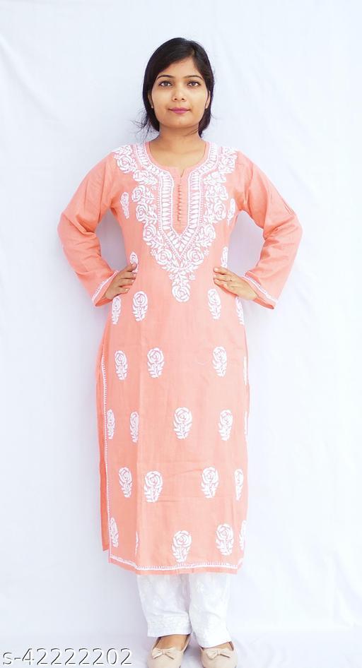 Akanksha Lifestyle Women's soft Linen Straight Casual Lucknowi Chikan Kurti(Peach)