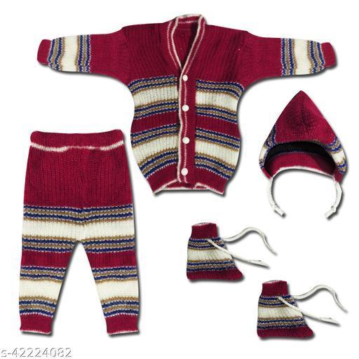 Baby Boy's & Girl's Woollen 1 Pairs of Mitten & Booty, 1 Baby Cap, 2 Baby Pyjamas and 1 Upper Winter Wear Clothes set