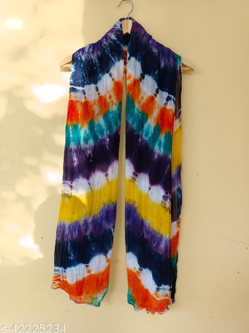 Rarigo Women's Multi color Tie & Die Printed Cotton Dupatta