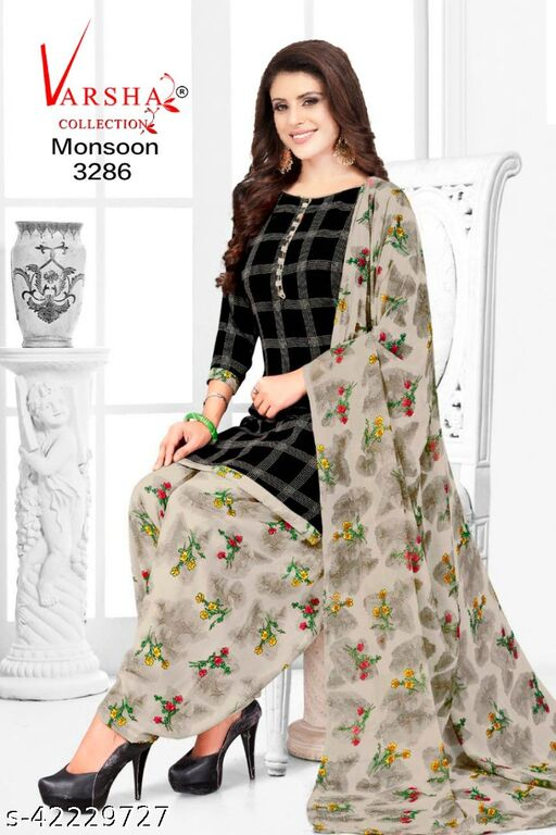 Varsha Women's Printed Leon Synthetic Unstitched Dress Material with Dupatta