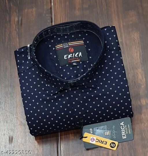 Men's Casual Party Wear Solid Printed Full Sleeves Premium Fancy Dotted Shirt (Navy Blue)