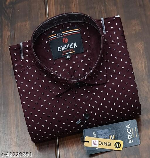 Men's Casual Party Wear Solid Printed Full Sleeves Premium Fancy Dotted Shirt (Dark Wine)