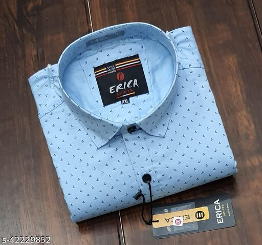 Men's Casual Party Wear Solid Printed Full Sleeves Premium Fancy Dotted Shirt (Aqua Blue)