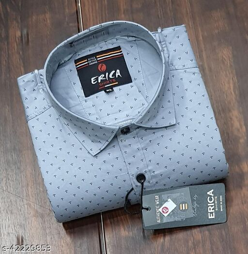 Men's Casual Party Wear Solid Printed Full Sleeves Premium Fancy Dotted Shirt (Grey)