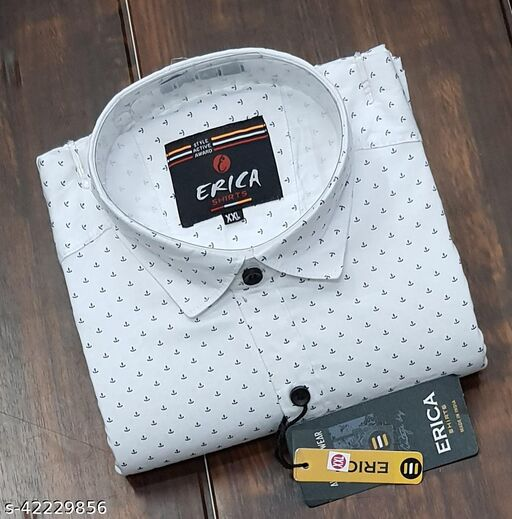 Men's Casual Party Wear Solid Printed Full Sleeves Premium Fancy Dotted Shirt (White)