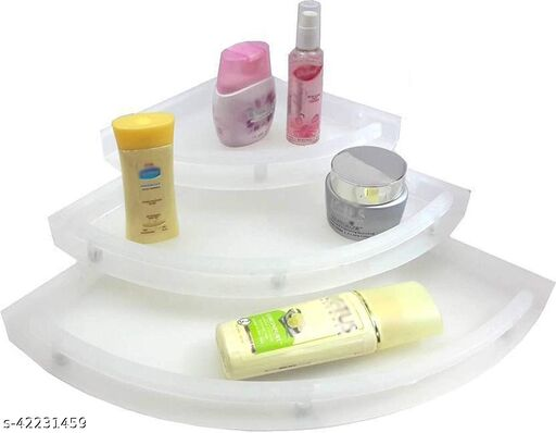 Unbreakable Plastic Bathroom Corner Rack White