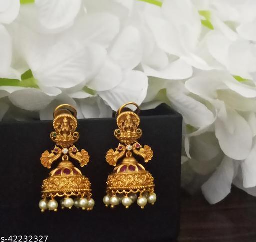 Matt Gold Laxmi Nakshi Jhumka Earrings with German Clips Ruby and Pearls
