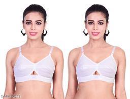 Women's non padded white cotton bra everyday (Pack Of 2)