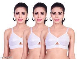 Women's non padded white cotton bra everyday (Pack Of 3)