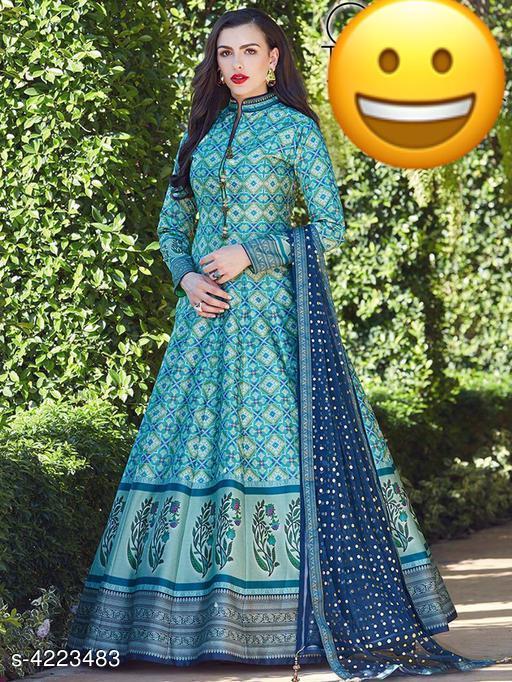 Printed Blue Maxi Cotton Blend Dress