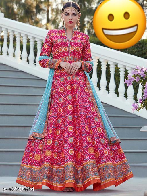 Printed Pink Maxi Cotton Dress