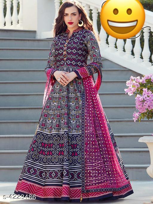 Printed Dark Multicolour Maxi Cotton Blend Dress
