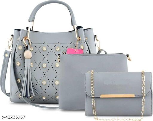 Women PU leather handbag & sling combo of 3