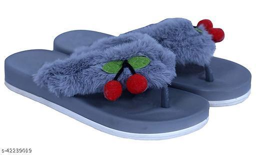 WMK Kids Comfortable Indoor & Outdoor Fur Slippers Flipflops for Girls - Grey