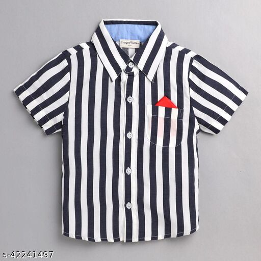 Hopscotch Boys Cotton Short Sleeves Stripes Print Shirt in Navy Color (1053751)