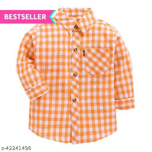 Hopscotch Boys Cotton Checks Full Sleeves Shirt in Orange Color (773080)