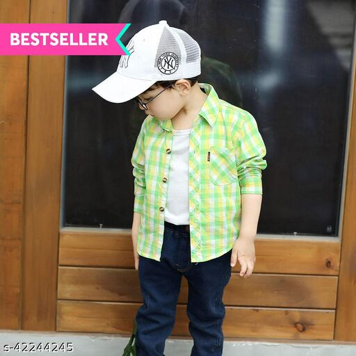 Hopscotch Boys Cotton Checks Full Sleeves Shirt in Green Color (798863)