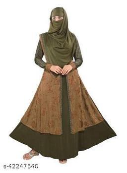 TUCUTE Women's Abaya Burkha With Waist Belt & Scarf / Hijab (255_Mehendi Brown)