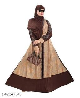 TUCUTE Women's Abaya Burkha With Waist Belt & Scarf / Hijab (255_Gold Brown)