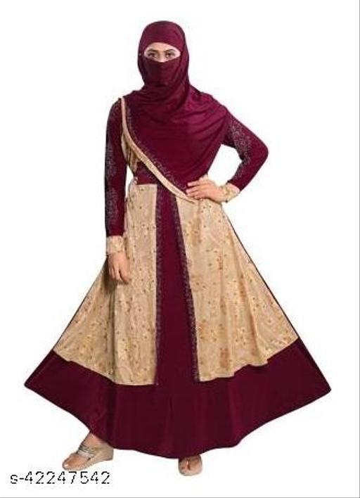 TUCUTE Women's Abaya Burkha With Waist Belt & Scarf / Hijab (255_Fawn Maroon)