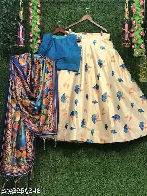 Printed Semi Stitched Lehenga Choli (Blue)