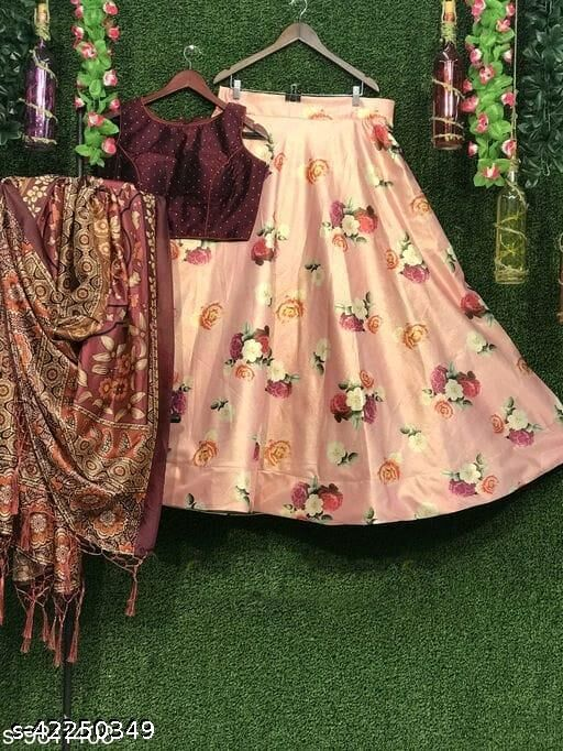 Printed Semi Stitched Lehenga Choli (Brown)