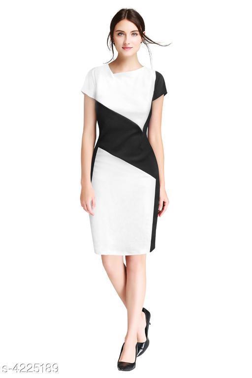 Solid White Knee length Dress