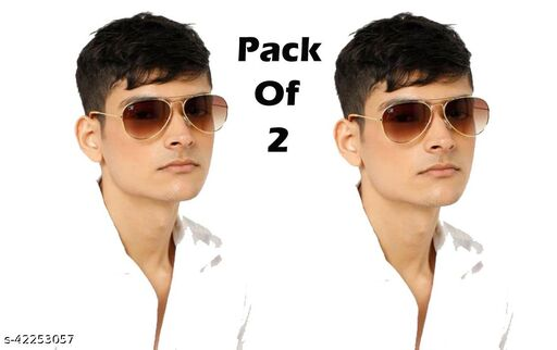 Ace N King Brown Shade Aviator With Golden Metal Frame Pack Of 2