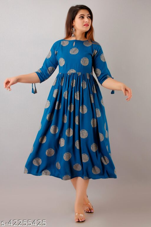 NeshamaKurti Womens Rayon Geometric Print Anarkali Dress (Teal Blue)