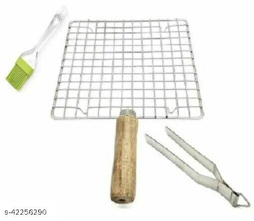 Stainless Steel Roasting Jaali\ Net with Cooking Tong\ Roti Chimta and Oil Brush