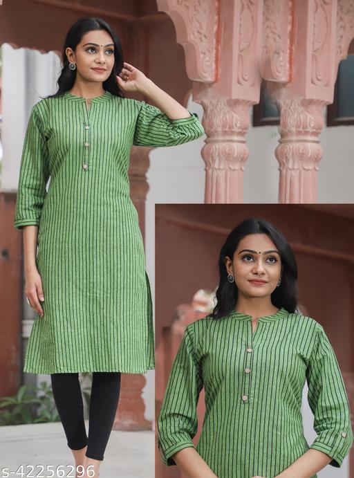 Demanding Cotton Straight Black Stylish Striped Kurta for Women(Yarn Dyed)