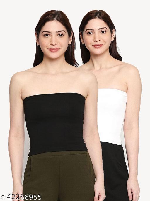 inocenCia Pack of 2 Solid Strapless Nylon Lycra Blended Black & White mid length Camisole for Women