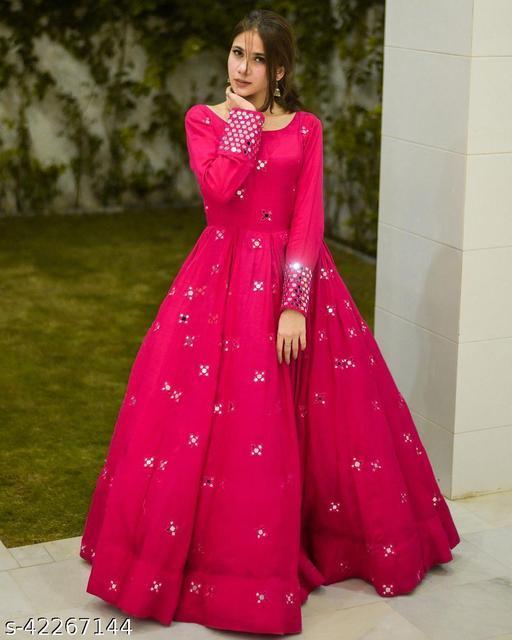 Women Rayon Anarkali Solid Pink Kurti