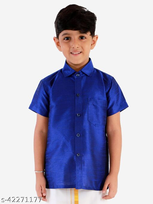 JBN Creation Boys' Blue Silk Blend Ethnic Shirt