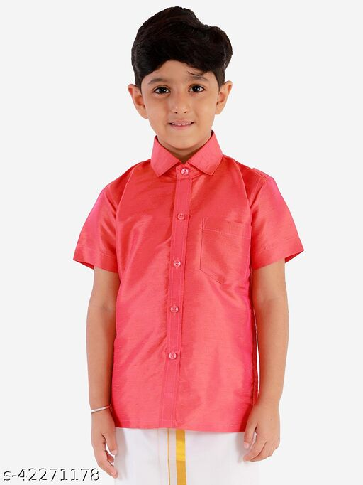 JBN Creation Boys' Red Silk Blend Ethnic Shirt