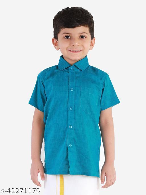 JBN Creation Boys' Blue Cotton Blend Ethnic Shirt