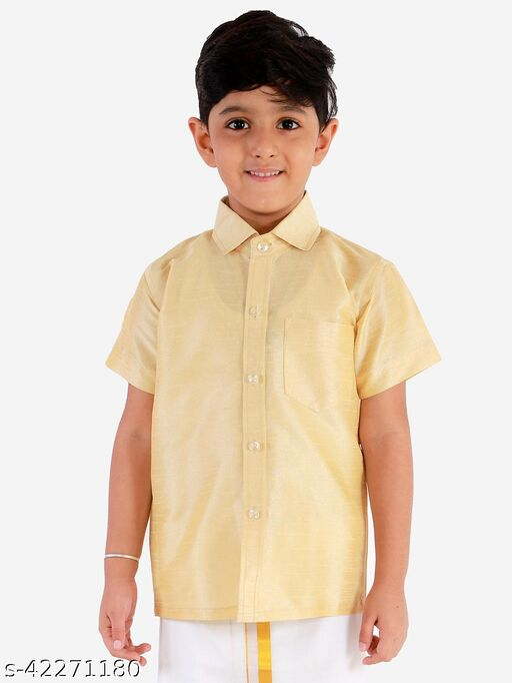 JBN Creation Boys' Gold Silk Blend Ethnic Shirt