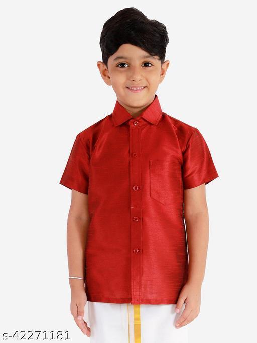 JBN Creation Boys' Maroon Silk Blend Ethnic Shirt