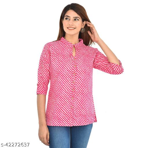 Pink Lahriya Cambric Cotton Shirts for Women