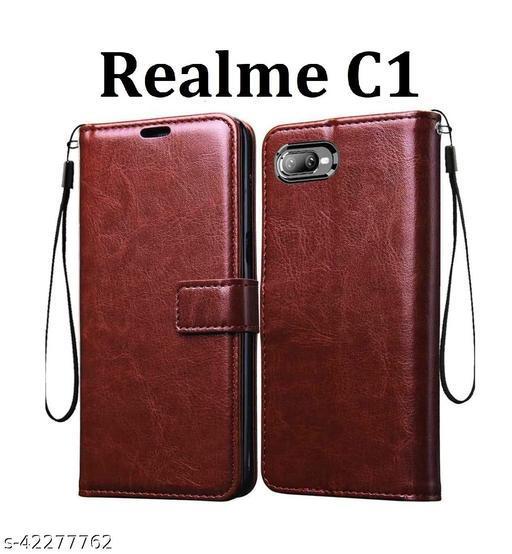 KHR Flip Cover For Realme C1 Flip Cover Magnetic Leather Wallet Case Shockproof TPU for Realme C1 (Brown)
