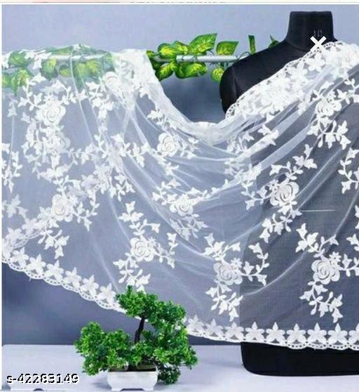 Miss Lady Fashion Soft Net (nylon) White Dupatta