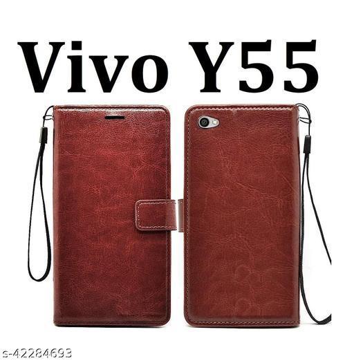 KHR Flip Cover For Vivo Y55 Flip Cover Magnetic Leather Wallet Case Shockproof TPU for Vivo Y55 (Brown)