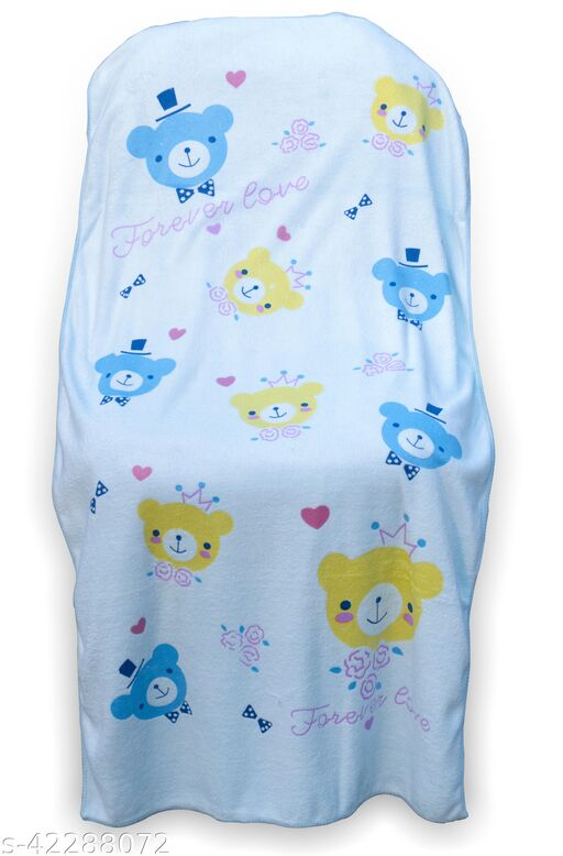 Uber World Kids Toddlers Micro Fiber Towel Extra Absorbancy Cute Bear Gentle on Skin, 121 by 60.9 CMS, Blue, Pack  of  1