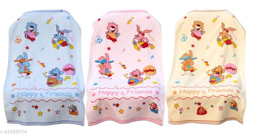 Uber World Baby  Kids Toddlers Cotton Towel One Sided Terry  Absorbent Cute Bunny Super Soft, 89 by 50.8 CMS,Pink, Yellow and Blue Pack  of 3