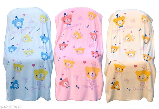 Uber World Baby  Kids Toddlers Micro Fiber Towel Extra Absorbancy Cute Bear Gentle on Skin, 121 by 60.9 CMS, Pink, Yellow and Blue, Pack  of  3